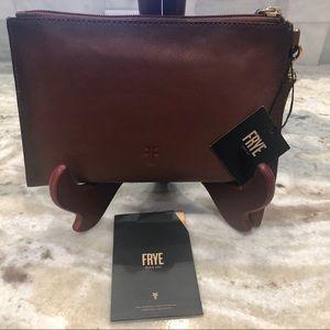 Frye Cognac Leather Large Wristlet Clutch Bag NWT
